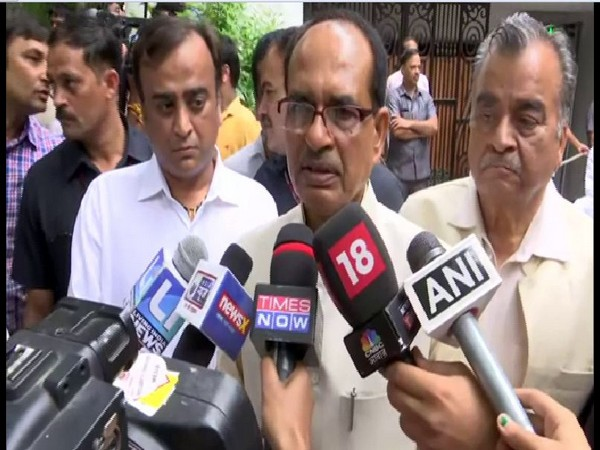 Shivraj Singh Chouhan speaking to reporters in New Delhi on Sunday. Photo/ANI