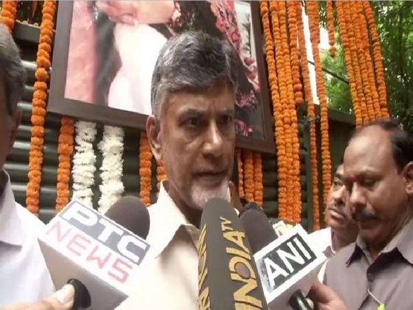 N Chandrababu Naidu speaking to reporters in New Delhi on Sunday. Photo/ANI