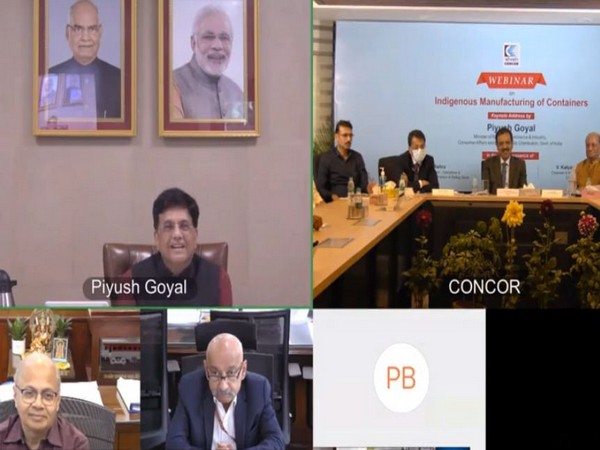 """Union Minister Piyush Goyal addresses a webinar on """"Indigenous containers manufacturing""""."""