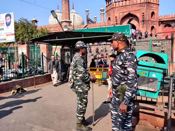 Security personnel deployed outside Jama Masjid in New Delhi on Friday. Photo/ANI