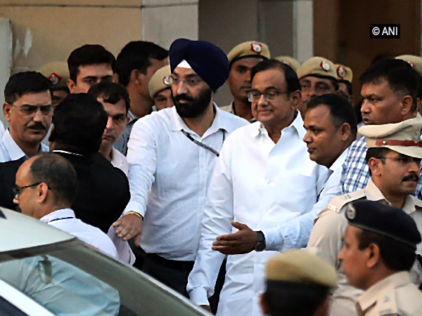 Congress leader P Chidambaram leaving the special CBI court in New Delhi on Thursday. Photo/ANI