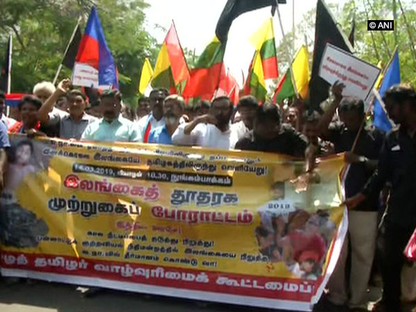 Visual from the protest outside Sri Lankan Embassy in Chennai on Thursday