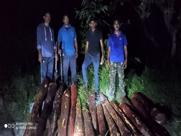 Police seize 16 logs of red sanders. (Photo/ANI)