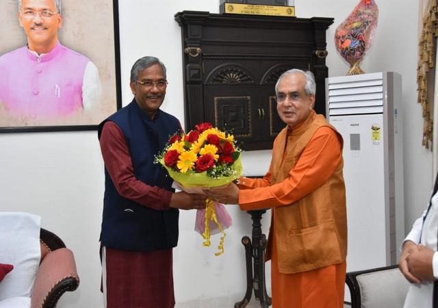Dr Rajiv Kumar meets CM Trivendra Rawat