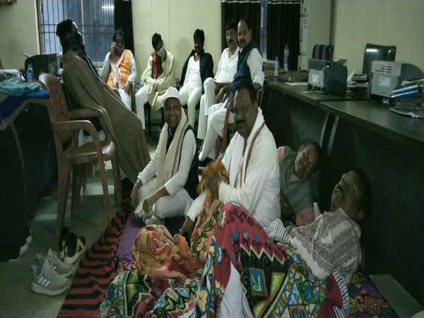 More than 15 top BJP leaders and Leader of Opposition are sitting on a dharna inside the Town Police station in Sambalpur (Photo/ANI)