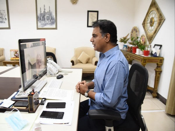 Telangana IT and Industries Minister KT Rama Rao during a webinar with PAFI on Friday. Photo/ANI