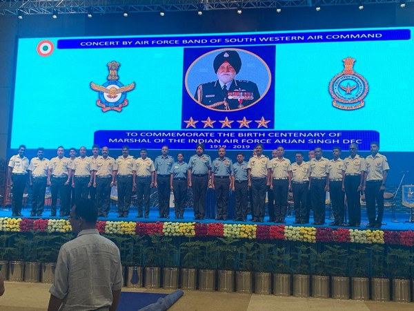 IAF organised a special Air Force Band concert to commemorate the birth centenary of the Marshal of the IAF Arjan Singh here on Saturday. Photo/ANI