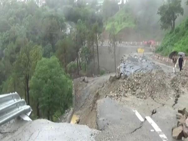 Newly constructed road on Rishikesh-Gangotri National Highway 94 damaged due to rains.