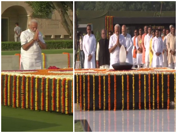 Visuals of Prime Minister Narendra Modi paying tribute to Mahatma Gandhi (left) and Atal Bihari Vajpayee (right) in New Delhi. Photo/ANI