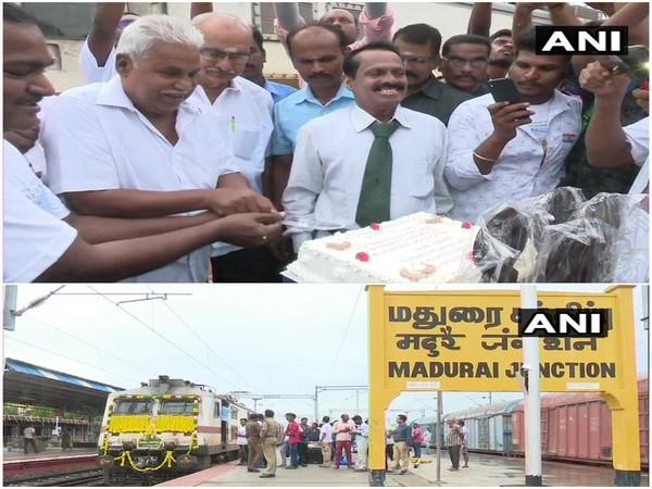 Rail officials celebrating Vaigai Express's 42nd anniversary.
