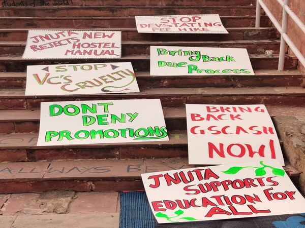Posters and pla cards at JNU. (Photo/ANI)