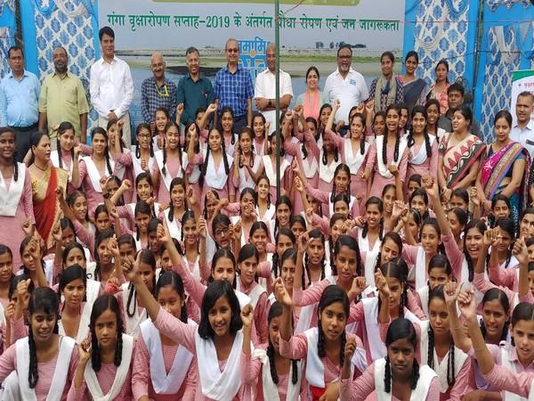 School children during tree plantation week observation at Hastinapur under NMCG initiative.