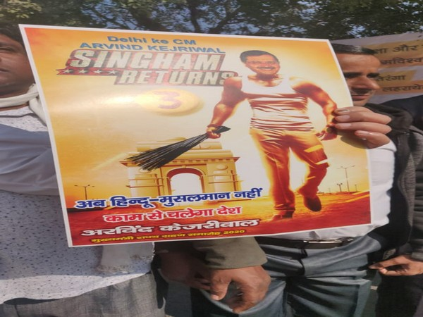 'Singham Returns' poster featuring Arvind Kejriwal at his swearing-in ceremony(Photo/ANI)