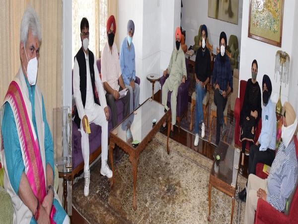 Visuals from the meetng in Srinagar. (Photo/ANI)