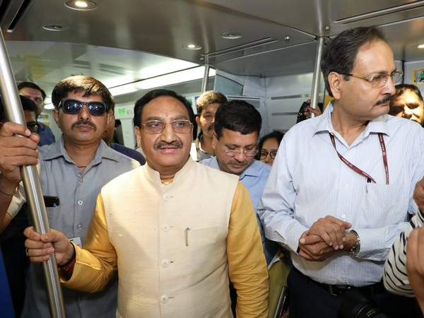 Union HRD Minister Ramesh Pokhriyal 'Nishank' in Delhi metro on Friday. Photo/ANI