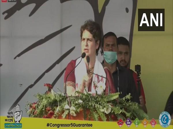 Priyanka Gandhi Vadra addresses a rally in Assam's Tezpur on Tuesday. [Photo/ANI]