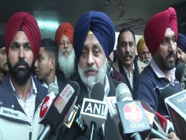 Shiromani Akali Dal (SAD) president Sukhbir Singh Badal talking to media on Tuesday