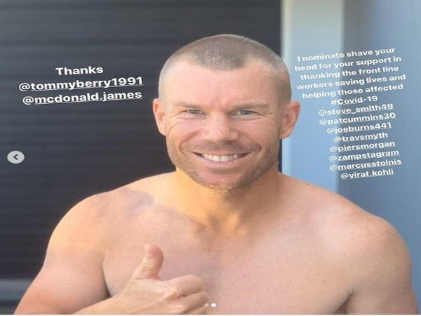 Covid 19 Warner Shaves Off Head To Show Support Towards Medical
