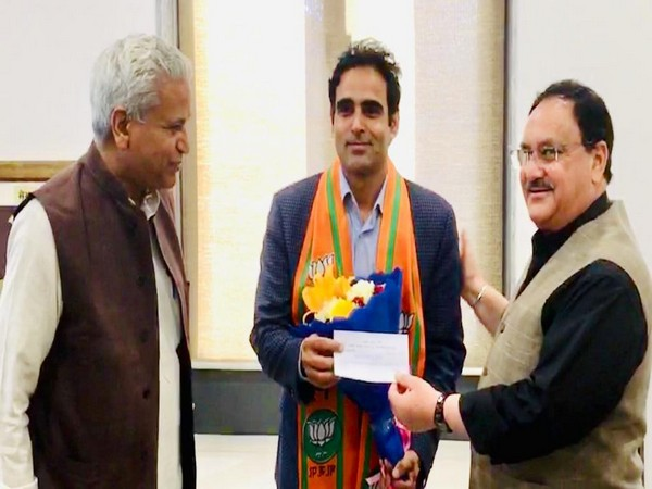 Major Surendra Poonia being inducted into the BJP party fold in New Delhi on Saturday. Photo/ANI