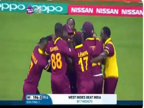 West Indies celebrate after defeating India (Photo/ ICC Twitter)