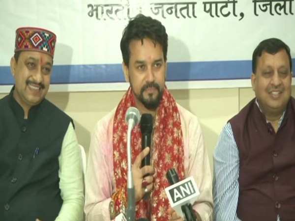 Union Minister Anurag Thakur addressing a press conference in Hamirpur on Sunday. [Photo/ANI]