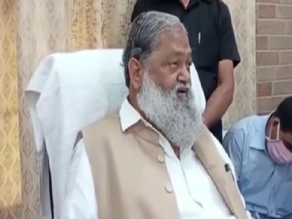 Haryana Home Minister Anil Vij speaking to reporters in Ambala on Saturday. [Photo/ANI]