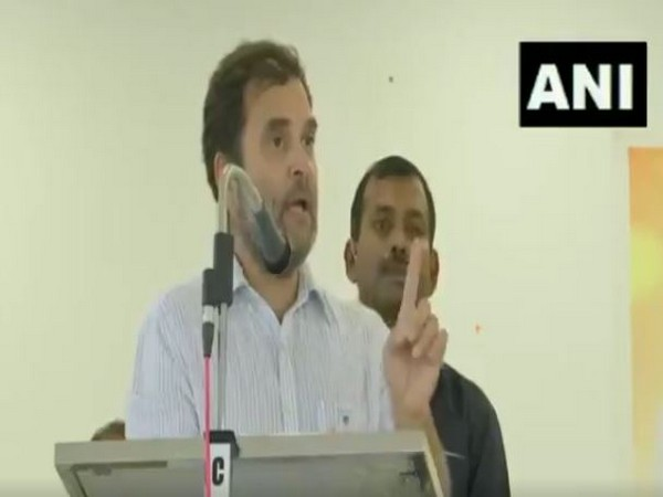 Rahul Gandhi speaking in Wayanad on Saturday. Photo/ANI