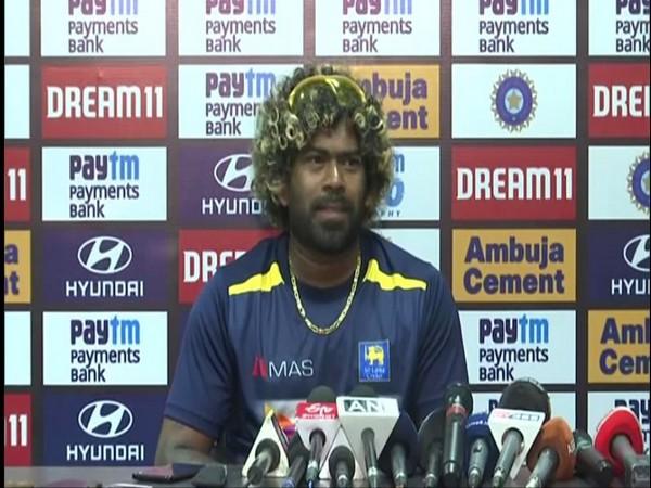 Sri Lanka T20I skipper Lasith Malinga speaking to reporters in Guwahati on Saturday.