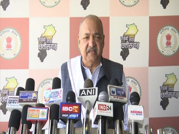 Chhattisgarh Agriculture Minister Ravindra Choubey speaking to media persons on Thursday in Raipur. Photo/ANI