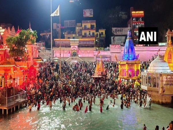 Visuals from Har Ki Pauri ghat in Haridwar. (Photo/ ANI)