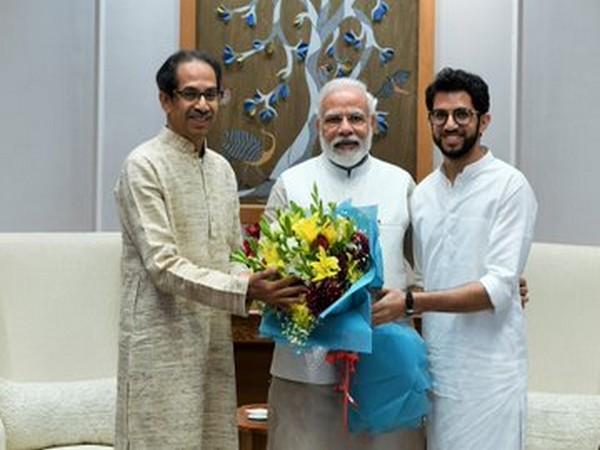 Maharashtra Chief Minister Uddhav Thackeray and son Aaditya with Prime Minister Narendra Modi in New Delhi on Friday.