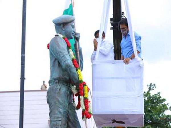 A statute of Maha Vir Chakra late Colonel Santhosh Babu