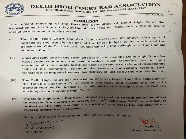 Delhi High Court bar Association condemned the transfer of Justice S Muralidhar on Wednesday. Photo/ANI