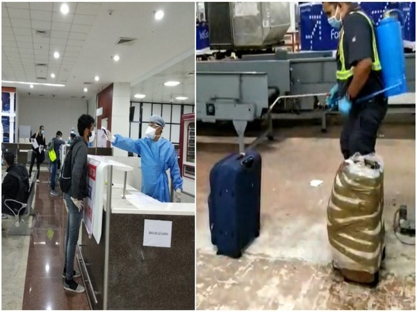 A passenger undergoing medical treatment at the Goa airport (left). Baggage being sanitised (right) (Photo/ANI)