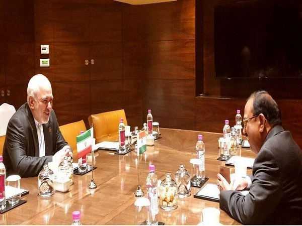 Iranian Foreign Minister Javad Zarif meeting National Security Advisor (NSA) Ajit Doval in New Delhi on Wednesday. (Photo Credits: IRNA News Agency)