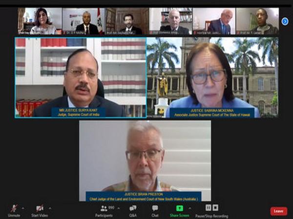 Justice Surya Kant, Justice Sabrina McKenna and Justice Brian Preston, participating in the International Webinar organized by Chandigarh University