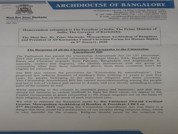 Memoradum submitted by Bengaluru Metropolitan Archbishop Peter Machado against CAA. (Photo/ANI)