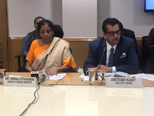 "Finance Minister Nirmala Sitharaman (l) and NITI Ayog CEO Amitabh Kant during ""Budget and Beyond Session"" on Friday."