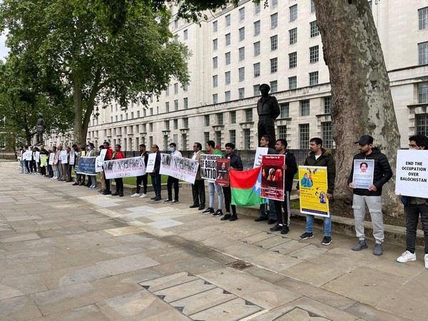 Baloch National Movement holds protest in London against enforced disappearances.