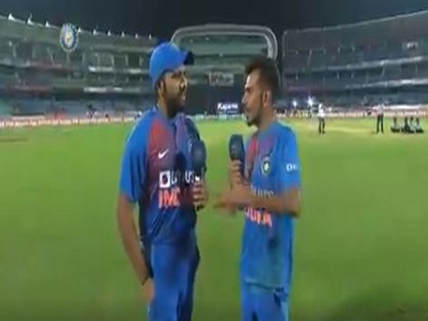 Rohit Sharma in conversation with Yuzvendra Chahal (Photo/ BCCI Twitter)