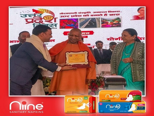 Amar Tulsiyan, founder of Shudh Plus Hygiene Products, Niine Sanitary Napkins, recognized for Industrial Contribution on Uttar Pradesh Day