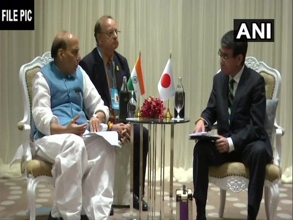 Defence Minister Rajnath Singh with his Japanese counterpart Taro Kono