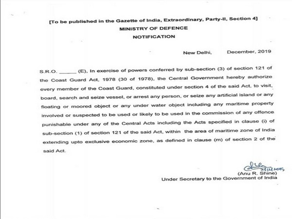 A notification issued by Ministry of Defence to empower the Coast Guard.