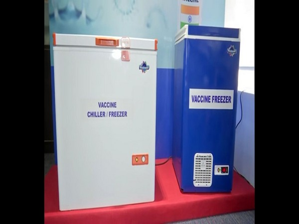COVID-19 vaccine storage chiller and freezer that runs on the hybrid renewable energy source of both wind and solar energy launched in Hyderabad on Thursday. [Photo/ANI]