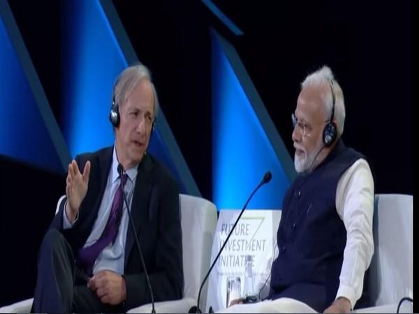 Prime Minister Narendra Modi with founder of Bridgewater Associates Ray Dalio