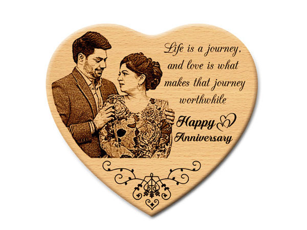 Personalized Wooden Engraved Wedding Gifts Photo Frame by Incredible Gifts