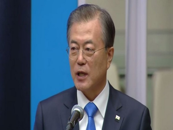South Korean President Moon Jae-in delivering a keynote address at UN headquarters in New York on Tuesday. Photo/ANI