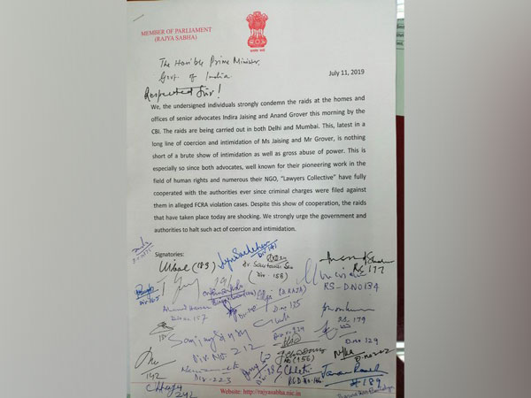 The letter written by opposition leaders to Prime Minister Narendra Modi regarding raids at senipr advocates' premises on Thursady. Photo/ANI