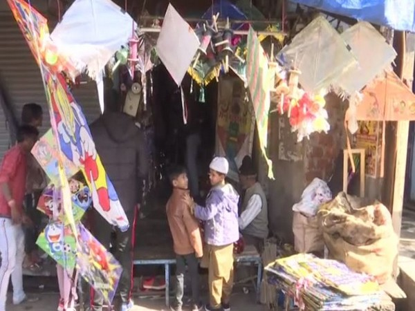 One of the kite shops in a local market in Bhopal on Monday. Photo/ANI