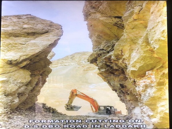 Formation cutting on DS DBO road in Laddakh [Photo/ANI]